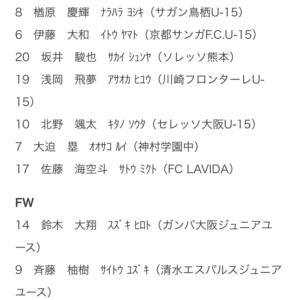 U15日本代表